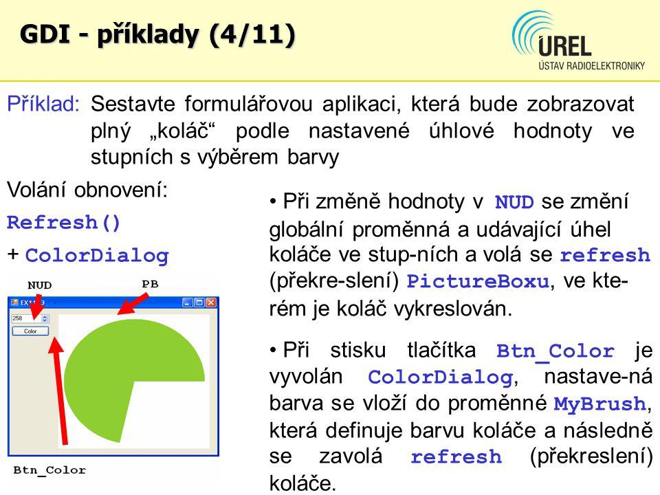 """GDI - příklady (4/11) Příklad: Sestavte formulářovou aplikaci, která bude zobrazovat plný """"koláč"""" podle nastavené úhlové hodnoty ve stupních s výběrem"""