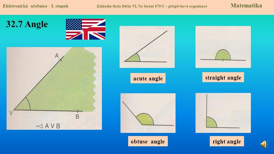 32.7 Angle Elektronická učebnice - I. stupeň Základní škola Děčín VI, Na Stráni 879/2 – příspěvková organizace Matematika acute angle obtuse angle str