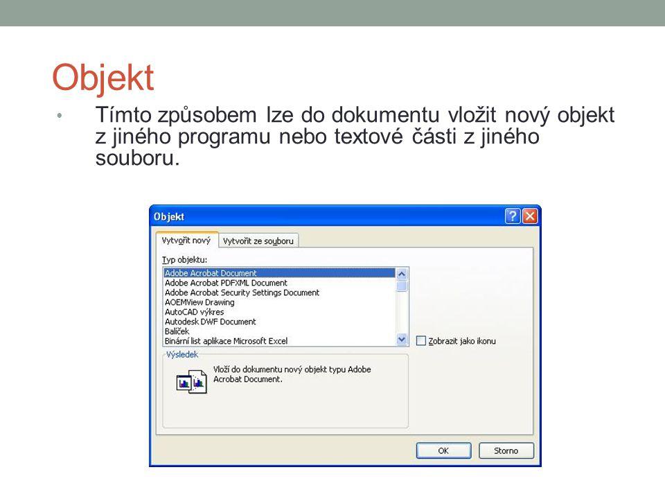 Objekt Tímto způsobem lze do dokumentu vložit nový objekt z jiného programu nebo textové části z jiného souboru.
