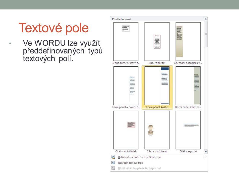 Textové pole Ve WORDU lze využít předdefinovaných typů textových polí.
