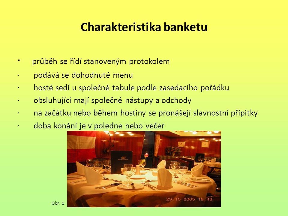 Charakteristika banketu · průběh se řídí stanoveným protokolem · podává se dohodnuté menu · hosté sedí u společné tabule podle zasedacího pořádku · obsluhující mají společné nástupy a odchody · na začátku nebo během hostiny se pronášejí slavnostní přípitky · doba konání je v poledne nebo večer Obr.