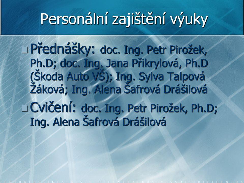 Personální zajištění výuky Přednášky: doc. Ing. Petr Pirožek, Ph.D; doc. Ing. Jana Přikrylová, Ph.D (Škoda Auto VŠ); Ing. Sylva Talpová Žáková; Ing. A