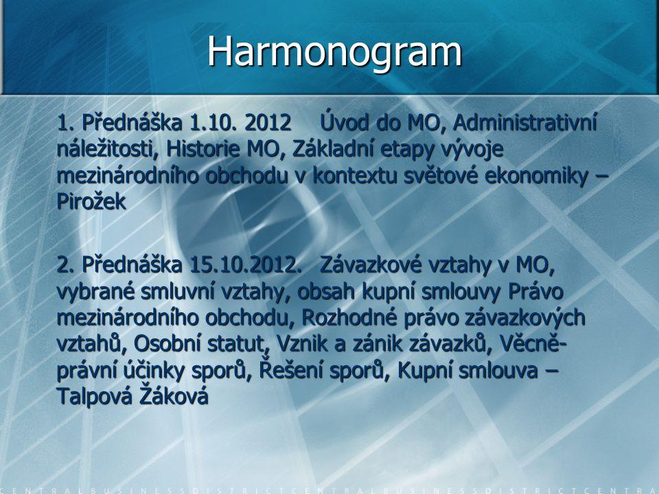 Harmonogram 1. Přednáška 1.10. 2012 Úvod do MO, Administrativní náležitosti, Historie MO, Základní etapy vývoje mezinárodního obchodu v kontextu světo