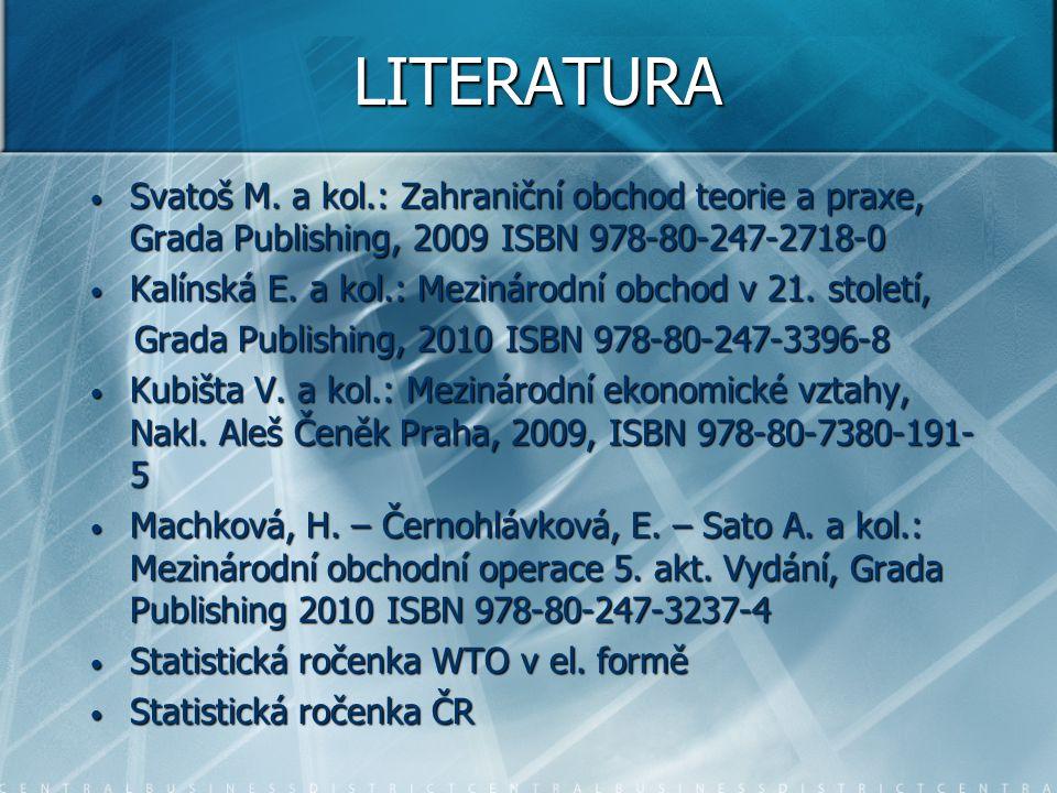 LITERATURA Svatoš M. a kol.: Zahraniční obchod teorie a praxe, Grada Publishing, 2009 ISBN 978-80-247-2718-0 Svatoš M. a kol.: Zahraniční obchod teori