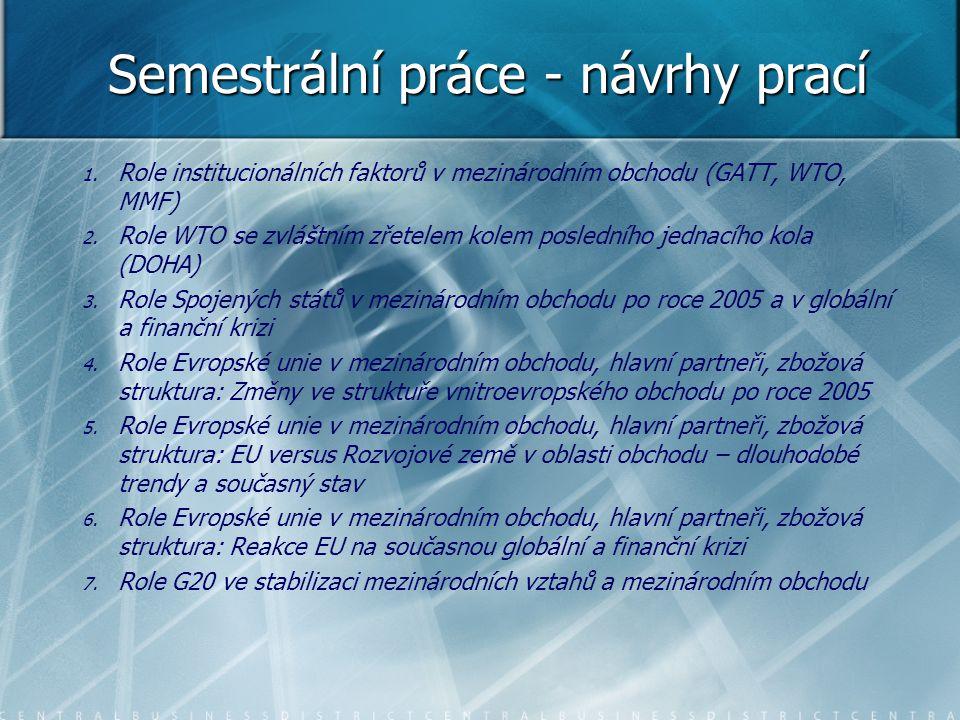 Semestrální práce - návrhy prací 1. 1. Role institucionálních faktorů v mezinárodním obchodu (GATT, WTO, MMF) 2. 2. Role WTO se zvláštním zřetelem kol
