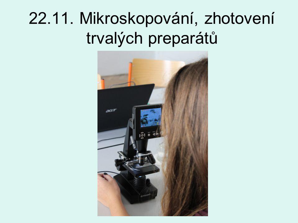 22.11. Mikroskopování, zhotovení trvalých preparátů