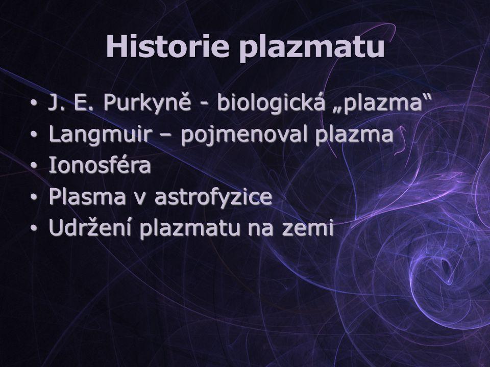 """Historie plazmatu J. E. Purkyně - biologická """"plazma"""" J. E. Purkyně - biologická """"plazma"""" Langmuir – pojmenoval plazma Langmuir – pojmenoval plazma Io"""