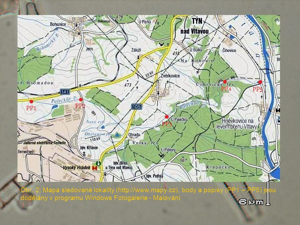 Obr. 2: Mapa sledované lokality (http://www.mapy.cz), body a popisy (PP1 – PP5) jsou dodělány v programu Windows Fotogalerie - Malování