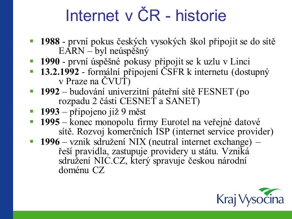 Internet v ČR - historie  1988 - první pokus českých vysokých škol připojit se do sítě EARN – byl neúspěšný  1990 - první úspěšné pokusy připojit se k uzlu v Linci  13.2.1992 - formální připojení ČSFR k internetu (dostupný v Praze na ČVUT)  1992 – budování univerzitní páteřní sítě FESNET (po rozpadu 2 části CESNET a SANET)  1993 – připojeno již 9 měst  1995 – konec monopolu firmy Eurotel na veřejné datové sítě.