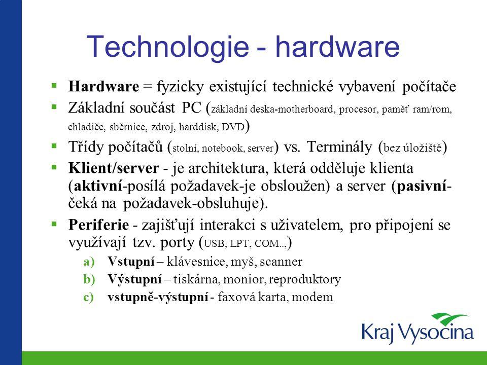 Technologie - hardware  Hardware = fyzicky existující technické vybavení počítače  Základní součást PC ( základní deska-motherboard, procesor, paměť ram/rom, chladiče, sběrnice, zdroj, harddisk, DVD )  Třídy počítačů ( stolní, notebook, server ) vs.