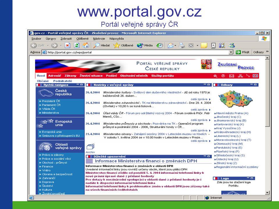 www.portal.gov.cz Portál veřejné správy ČR