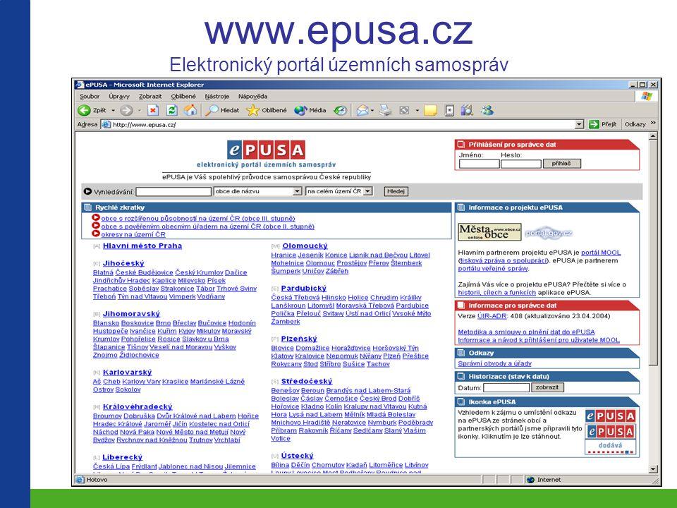 www.epusa.cz Elektronický portál územních samospráv