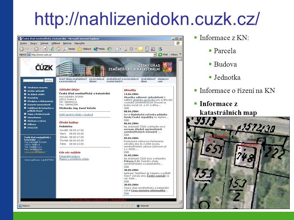 http://nahlizenidokn.cuzk.cz/  Informace z KN:  Parcela  Budova  Jednotka  Informace o řízení na KN  Informace z katastrálních map