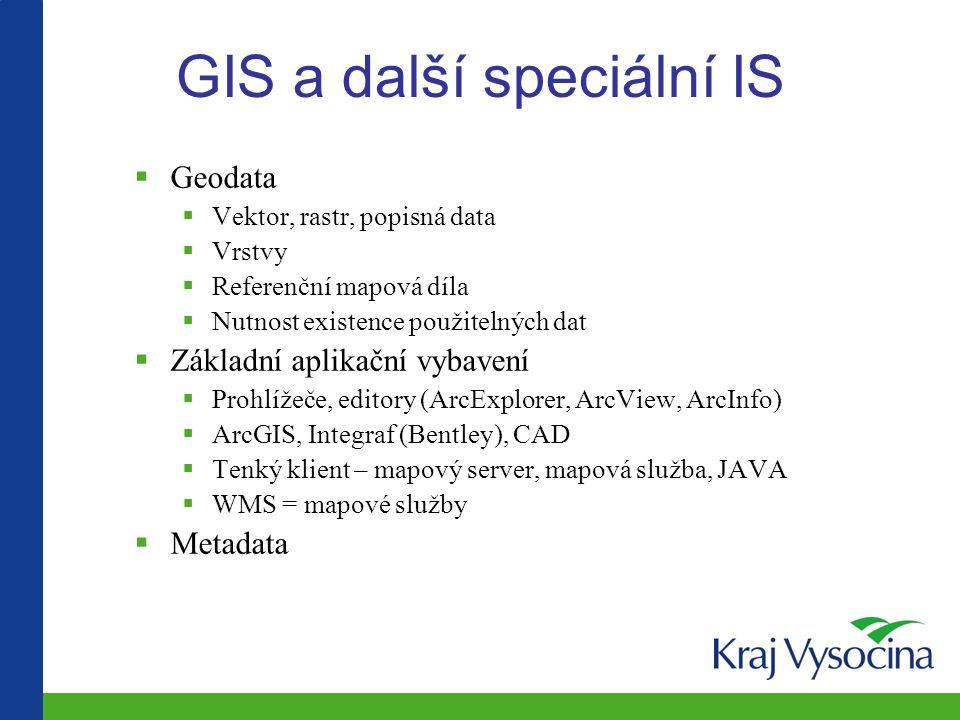 GIS a další speciální IS  Geodata  Vektor, rastr, popisná data  Vrstvy  Referenční mapová díla  Nutnost existence použitelných dat  Základní aplikační vybavení  Prohlížeče, editory (ArcExplorer, ArcView, ArcInfo)  ArcGIS, Integraf (Bentley), CAD  Tenký klient – mapový server, mapová služba, JAVA  WMS = mapové služby  Metadata