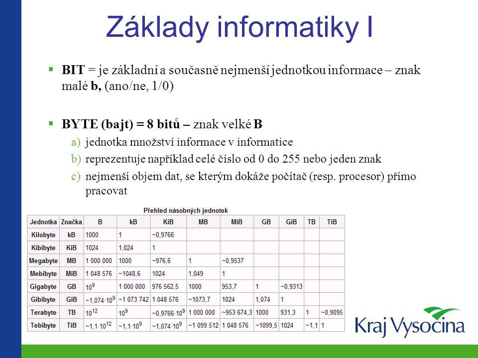 Základy informatiky I  BIT = je základní a současně nejmenší jednotkou informace – znak malé b, (ano/ne, 1/0)  BYTE (bajt) = 8 bitů – znak velké B a)jednotka množství informace v informatice b)reprezentuje například celé číslo od 0 do 255 nebo jeden znak c)nejmenší objem dat, se kterým dokáže počítač (resp.