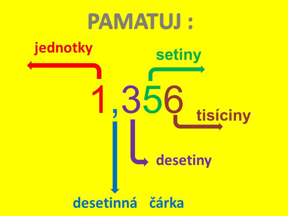 PAMATUJ : jednotky desetinná čárka desetiny 1,3561,356 setiny tisíciny