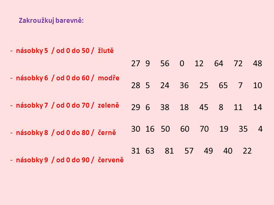 Zakroužkuj barevně: - násobky 5 / od 0 do 50 / žlutě - násobky 6 / od 0 do 60 / modře - násobky 7 / od 0 do 70 / zeleně - násobky 8 / od 0 do 80 / čer