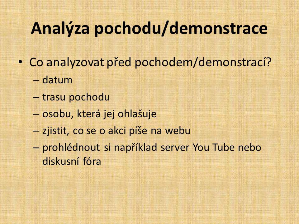 Analýza pochodu/demonstrace Co analyzovat před pochodem/demonstrací? – datum – trasu pochodu – osobu, která jej ohlašuje – zjistit, co se o akci píše