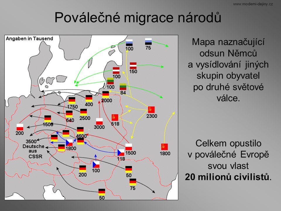 Mapa naznačující odsun Němců a vysídlování jiných skupin obyvatel po druhé světové válce. Celkem opustilo v poválečné Evropě svou vlast 20 milionů civ