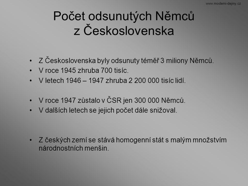 Počet odsunutých Němců z Československa Z Československa byly odsunuty téměř 3 miliony Němců. V roce 1945 zhruba 700 tisíc. V letech 1946 – 1947 zhrub