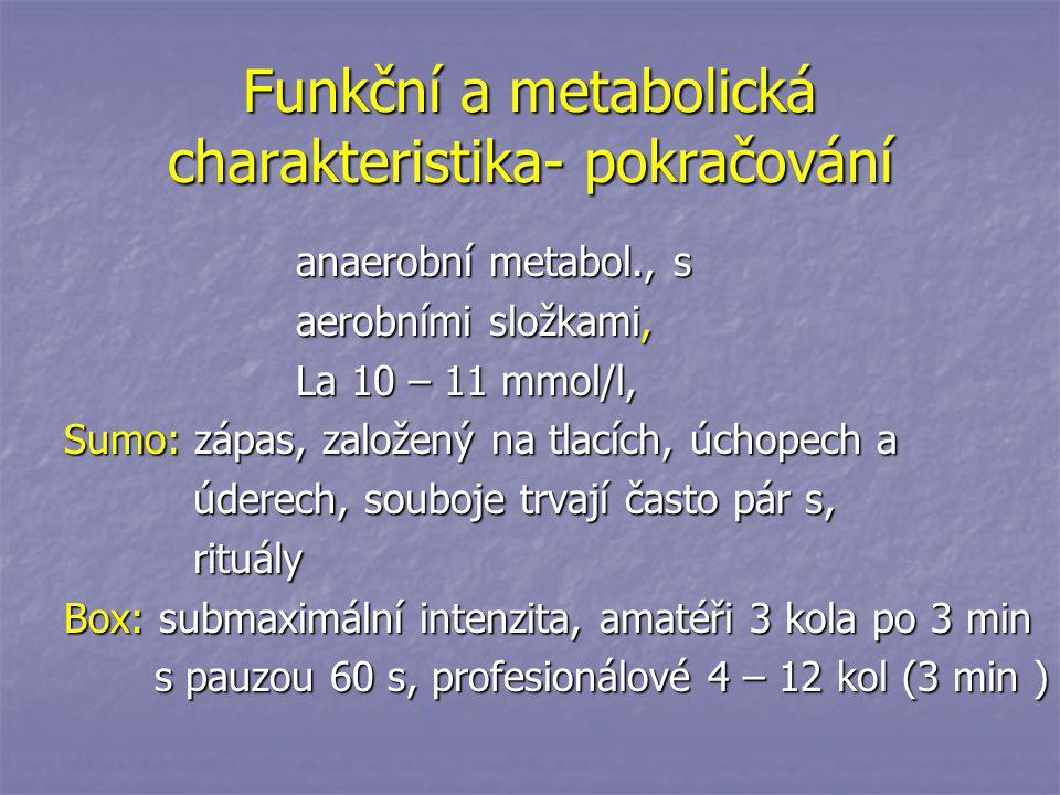 Funkční a metabolická charakteristika- pokračování anaerobní metabol., s anaerobní metabol., s aerobními složkami, aerobními složkami, La 10 – 11 mmol