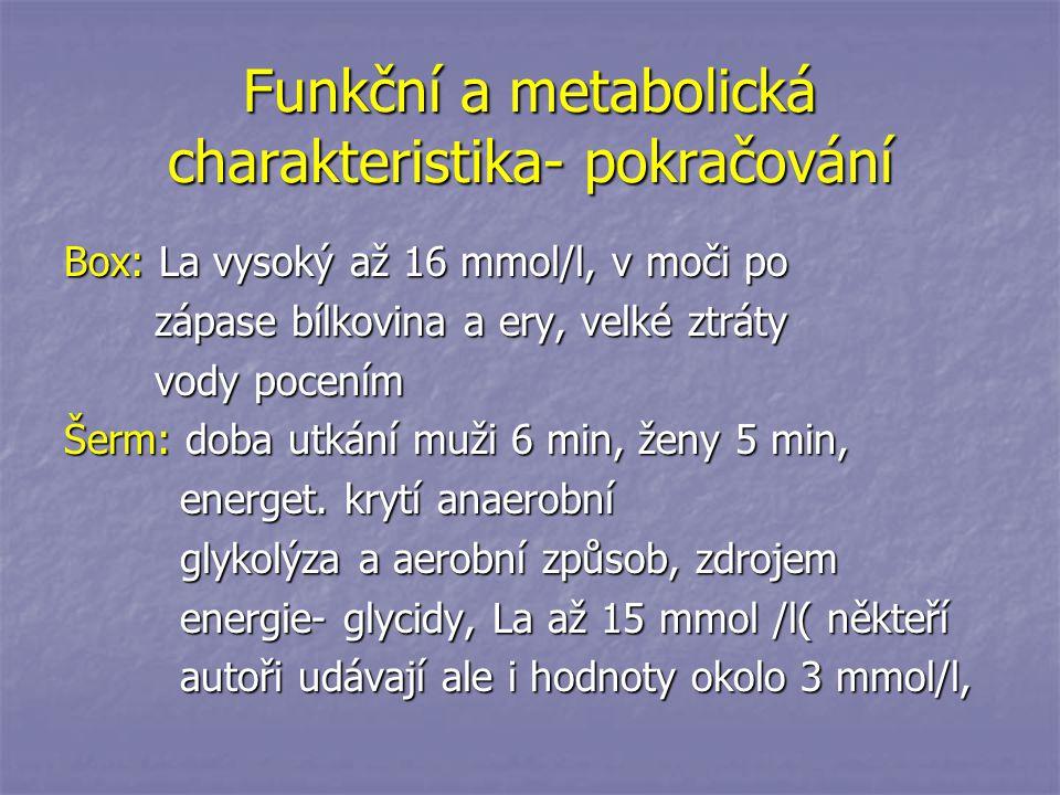 Funkční a metabolická charakteristika- pokračování Box: La vysoký až 16 mmol/l, v moči po zápase bílkovina a ery, velké ztráty zápase bílkovina a ery,