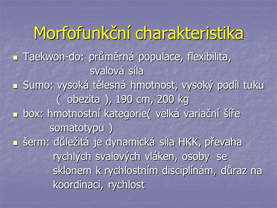 Morfofunkční charakteristika Taekwon-do: průměrná populace, flexibilita, Taekwon-do: průměrná populace, flexibilita, svalová síla svalová síla Sumo: v