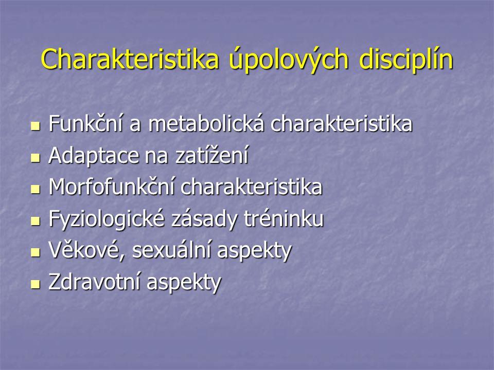 Charakteristika úpolových disciplín Funkční a metabolická charakteristika Funkční a metabolická charakteristika Adaptace na zatížení Adaptace na zatíž