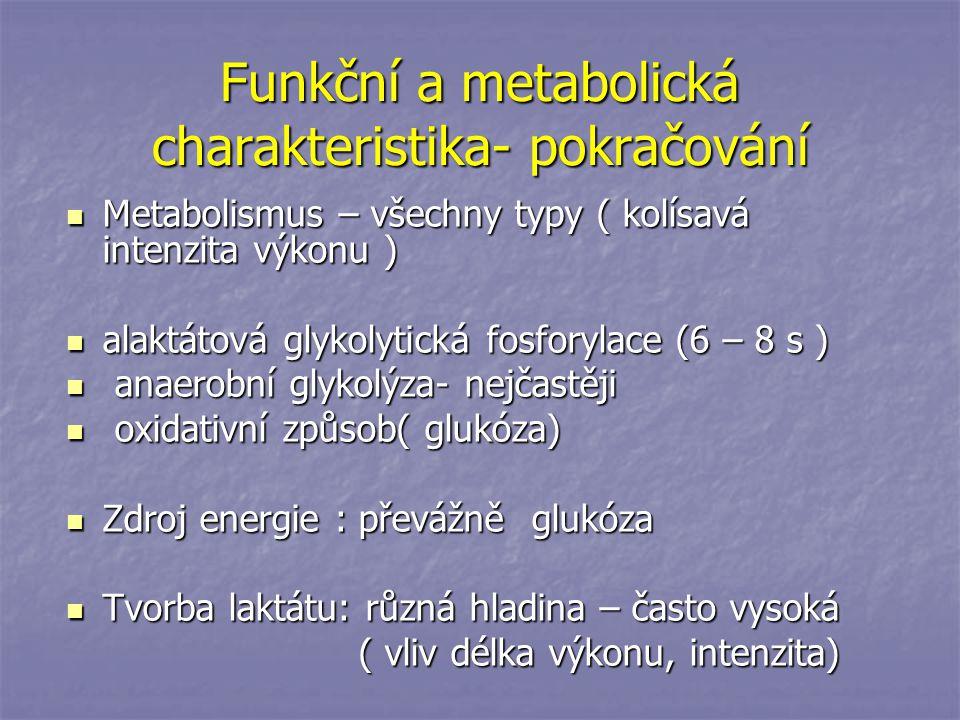 Funkční a metabolická charakteristika- pokračování Metabolismus – všechny typy ( kolísavá intenzita výkonu ) Metabolismus – všechny typy ( kolísavá in