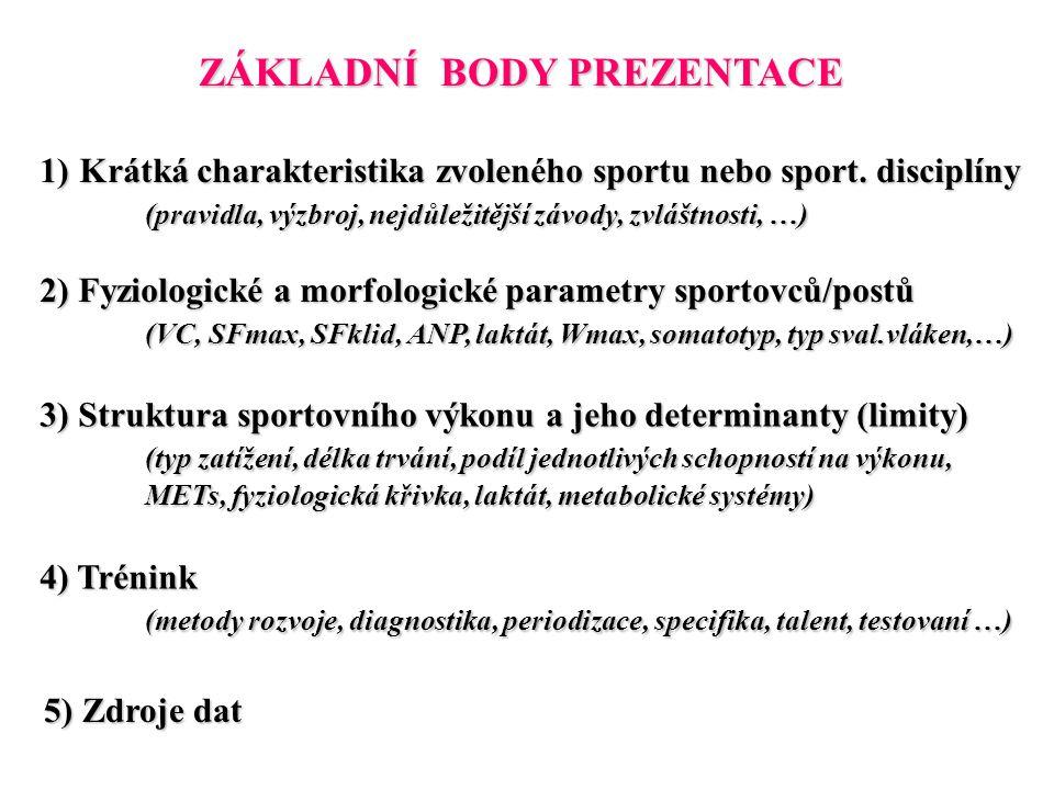 ZÁKLADNÍ BODY PREZENTACE 1)Krátká charakteristika zvoleného sportu nebo sport. disciplíny (pravidla, výzbroj, nejdůležitější závody, zvláštnosti, …) 2