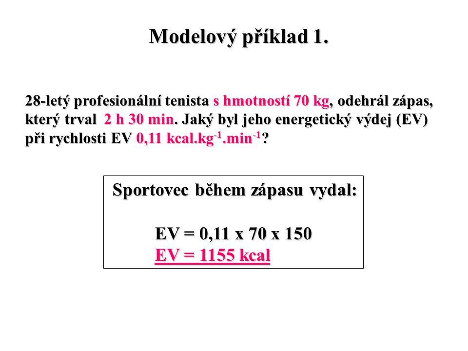 Modelový příklad 1. 28-letý profesionální tenista s hmotností 70 kg, odehrál zápas, který trval 2 h 30 min. Jaký byl jeho energetický výdej (EV) při r