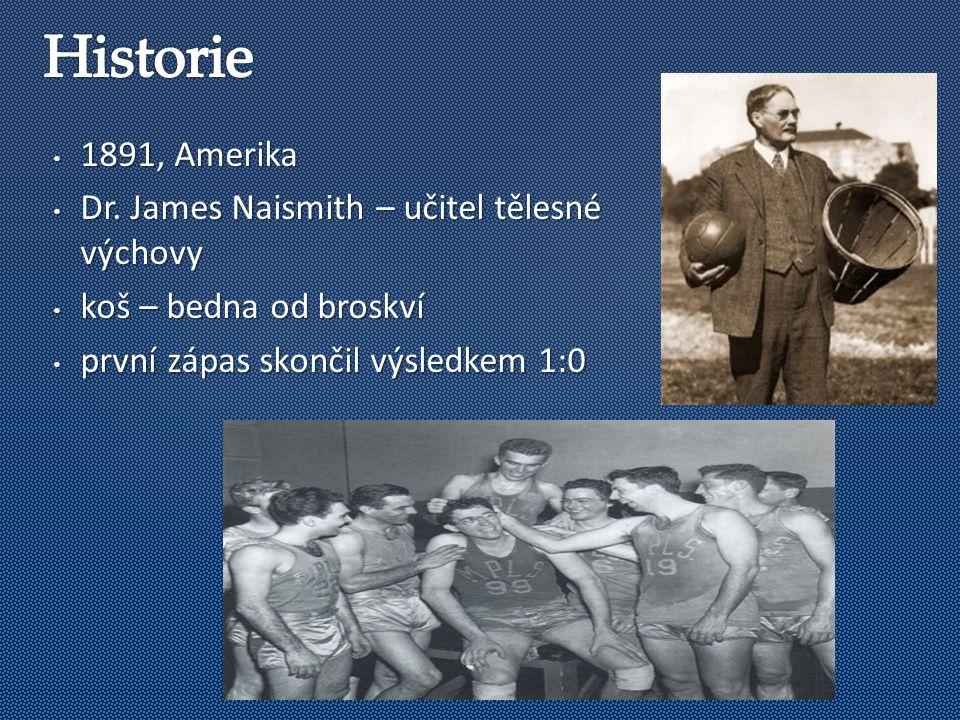 1891, Amerika 1891, Amerika Dr. James Naismith – učitel tělesné výchovy Dr.