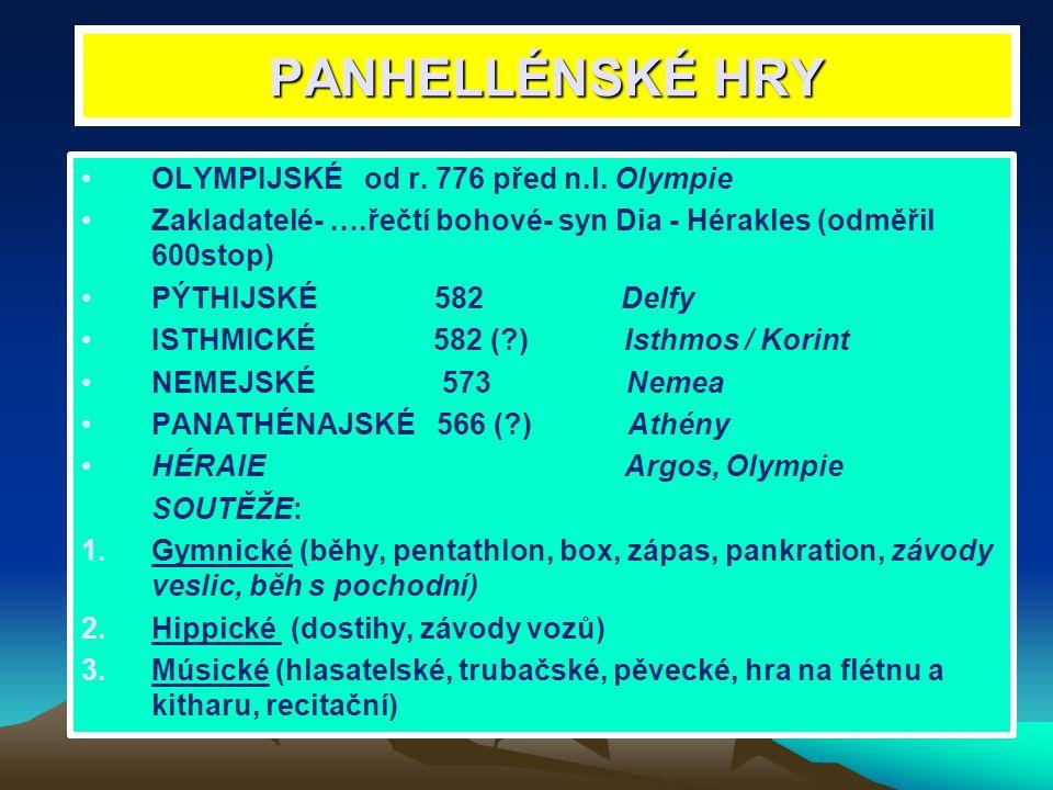 PANHELLÉNSKÉ HRY OLYMPIJSKÉ od r. 776 před n.l. Olympie Zakladatelé- ….řečtí bohové- syn Dia - Hérakles (odměřil 600stop) PÝTHIJSKÉ 582 Delfy ISTHMICK