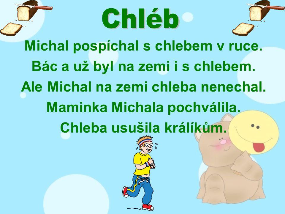 Michal pospíchal s chlebem v ruce. Bác a už byl na zemi i s chlebem.