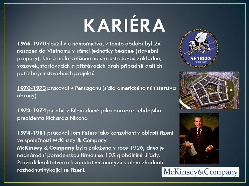 1981 odchází ze společnosti McKinsey & Company a začíná působit coby samostatný nezávislý konzultant 1982 vychází jeho nejslavnější kniha In Search of Excellence, kterou napsal společně s Robertem H.