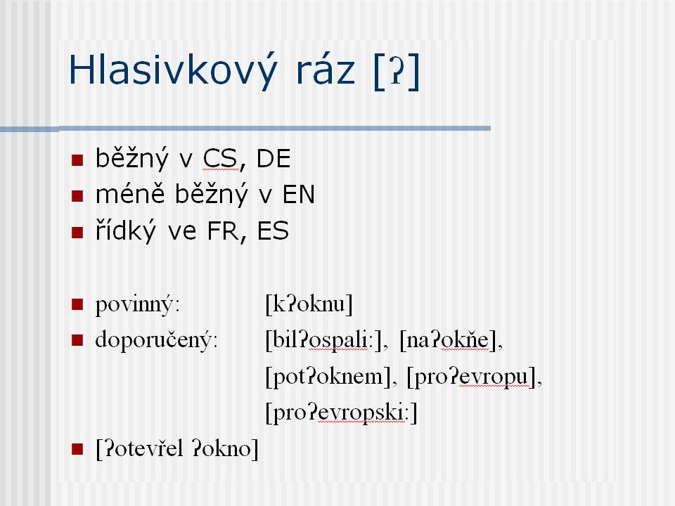 Hlasivkový ráz [ ʔ ] běžný v CS, DE méně běžný v EN řídký ve FR, ES povinný:[k ʔ oknu] doporučený:[bil ʔ ospali:], [na ʔ okňe], [pot ʔ oknem], [pro ʔ evropu], [pro ʔ evropski:] [ ʔ otevřel ʔ okno]