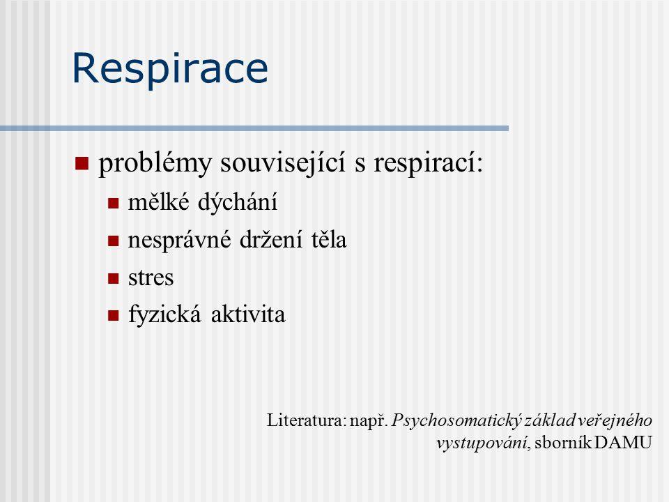 Respirace problémy související s respirací: mělké dýchání nesprávné držení těla stres fyzická aktivita Literatura: např.