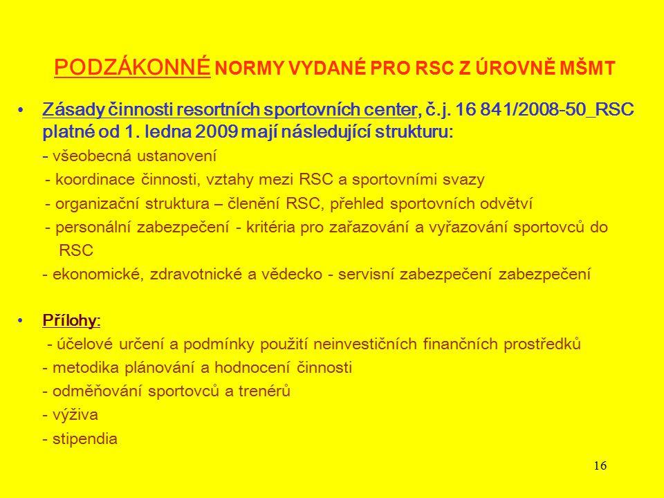 16 PODZÁKONNÉ NORMY VYDANÉ PRO RSC Z ÚROVNĚ MŠMT Zásady činnosti resortních sportovních center, č.j. 16 841/2008-50_RSC platné od 1. ledna 2009 mají n