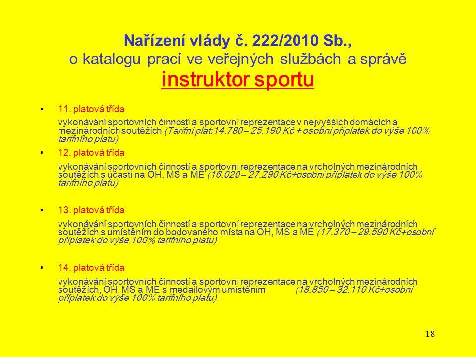 18 Nařízení vlády č. 222/2010 Sb., o katalogu prací ve veřejných službách a správě instruktor sportu 11. platová třída vykonávání sportovních činností