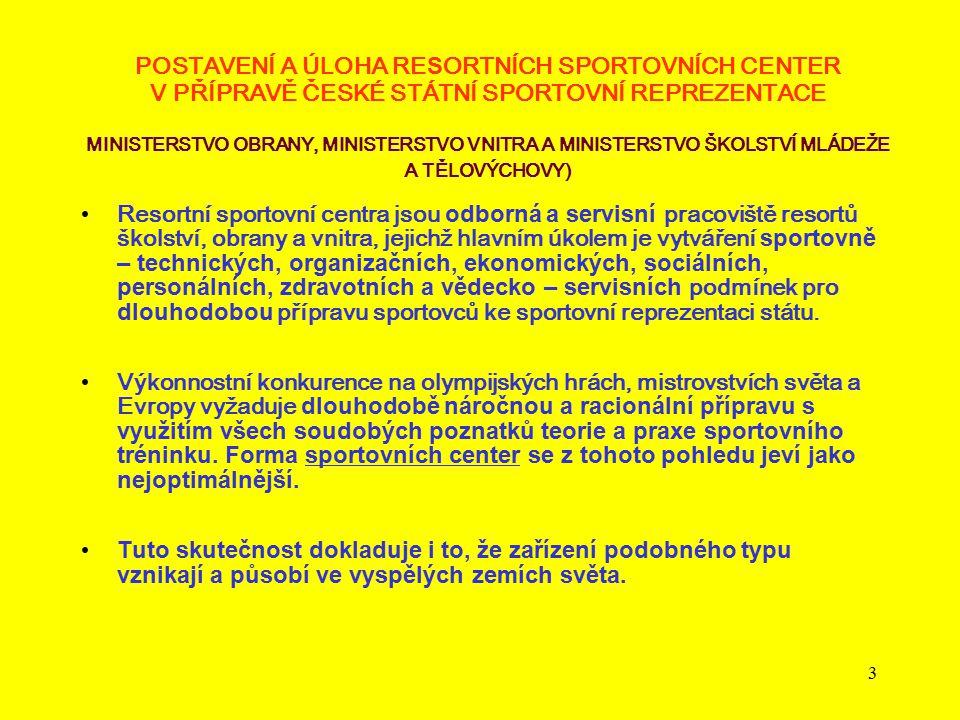 3 POSTAVENÍ A ÚLOHA RE S ORTNÍCH SPORTOVNÍCH CENTER V PŘÍPRAVĚ ČESKÉ STÁTNÍ SPORTOVNÍ REPREZENTACE MINISTERSTVO OBRANY, MINISTERSTVO VNITRA A MINISTER