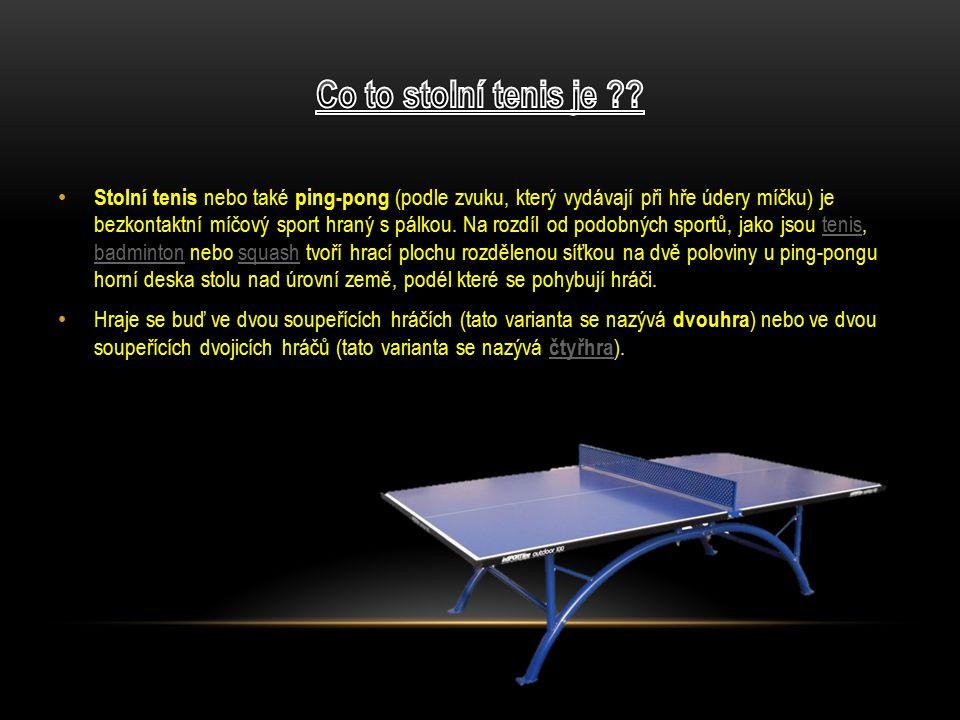 Stolní tenis se vyvinul ze společenské hry, která byla kolem roku 1880 přivezena z Číny do Británie.
