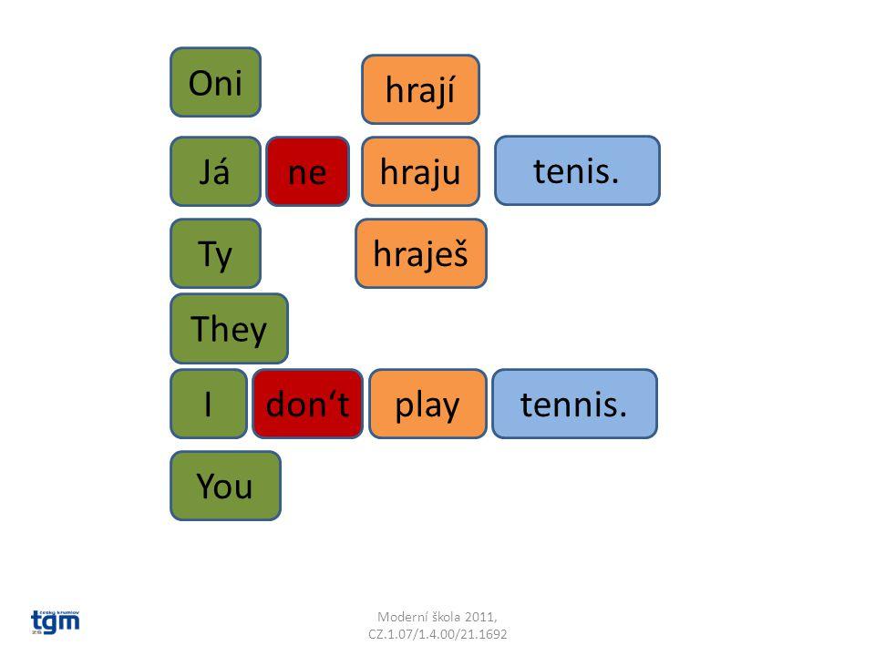 Jánehraju tenis. tennis.playIdon't Ty Oni hrají hraješ They You