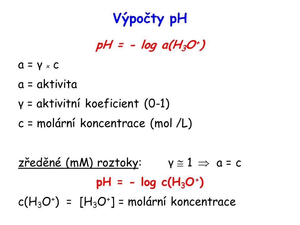Výpočty pH pH = - log a(H 3 O + ) a = γ x c a = aktivita γ = aktivitní koeficient (0-1) c = molární koncentrace (mol /L) zředěné (mM) roztoky: γ  1  a = c pH = - log c(H 3 O + ) c(H 3 O + ) = [H 3 O + ] = molární koncentrace