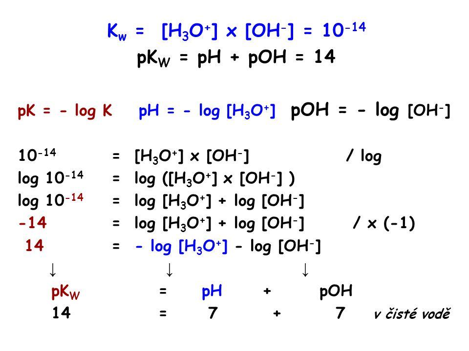 K w = [H 3 O + ] x [OH - ] = 10 -14 pK W = pH + pOH = 14 pK = - log K pH = - log [H 3 O + ] pOH = - log [OH - ] 10 -14 = [H 3 O + ] x [OH - ] / log log 10 -14 = log ([H 3 O + ] x [OH - ] ) log 10 -14 = log [H 3 O + ] + log [OH - ] -14 = log [H 3 O + ] + log [OH - ] / x (-1) 14= - log [H 3 O + ] - log [OH - ] ↓ ↓ ↓ pK W = pH + pOH 14= 7 + 7 v čisté vodě