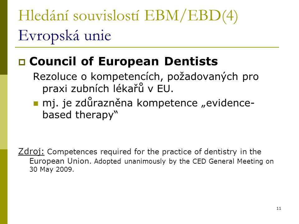 11 Hledání souvislostí EBM/EBD(4) Evropská unie  Council of European Dentists Rezoluce o kompetencích, požadovaných pro praxi zubních lékařů v EU. mj