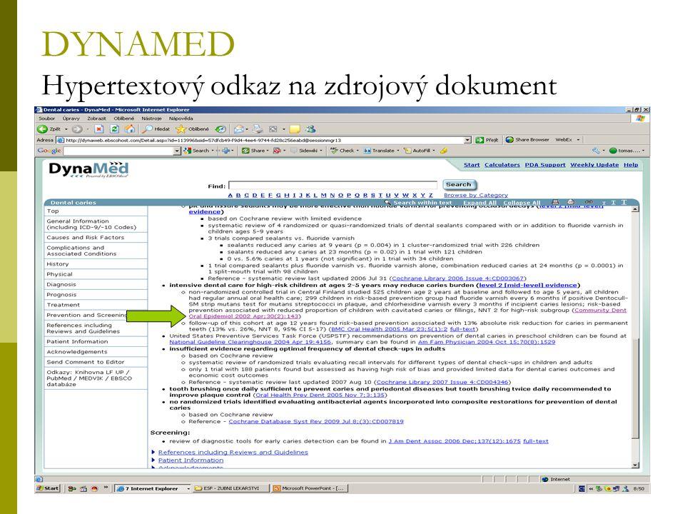 34 DYNAMED Hypertextový odkaz na zdrojový dokument
