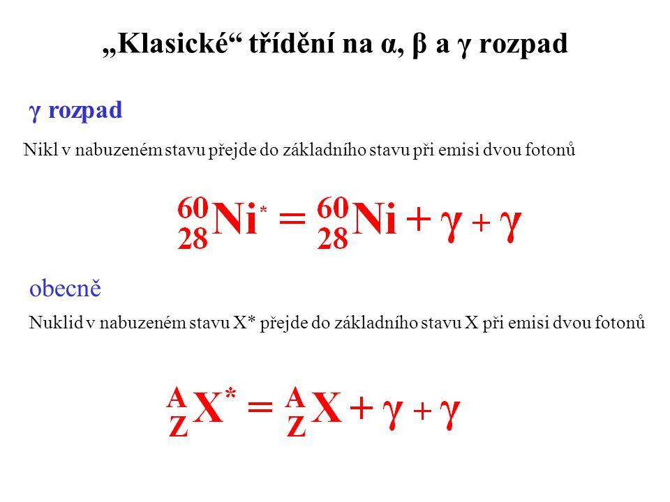 """""""Klasické třídění na α, β a γ rozpad Nikl v nabuzeném stavu přejde do základního stavu při emisi dvou fotonů Nuklid v nabuzeném stavu X* přejde do základního stavu X při emisi dvou fotonů obecně γ rozpad"""