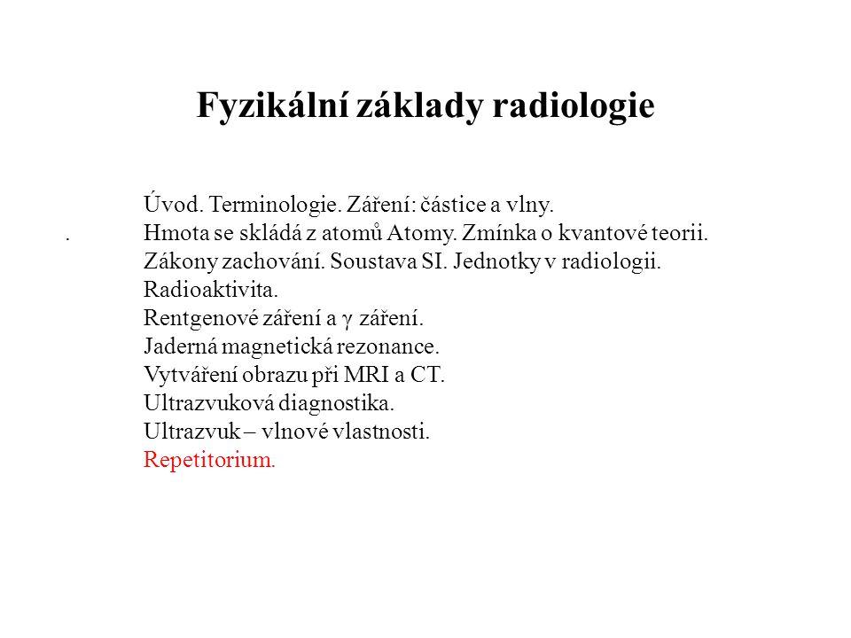 Fyzikální základy radiologie Úvod.Terminologie. Záření: částice a vlny..