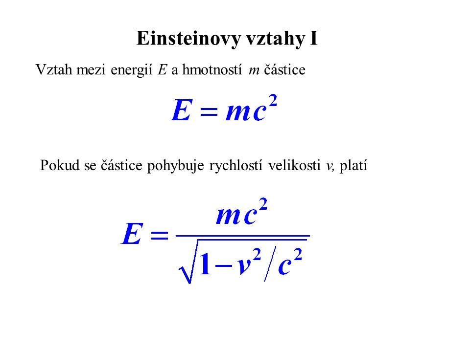 Einsteinovy vztahy I Vztah mezi energií E a hmotností m částice Pokud se částice pohybuje rychlostí velikosti v, platí