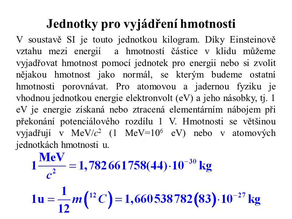 Jednotky pro vyjádření hmotnosti V soustavě SI je touto jednotkou kilogram.